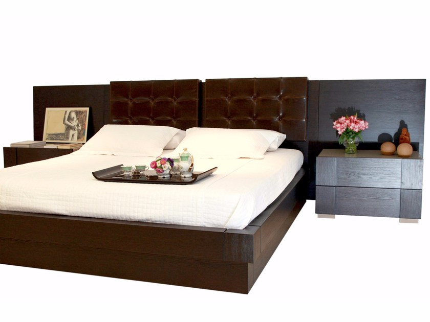Wooden bed with upholstered headboard HAISHÀ | Bed - LOUIS KAZAN