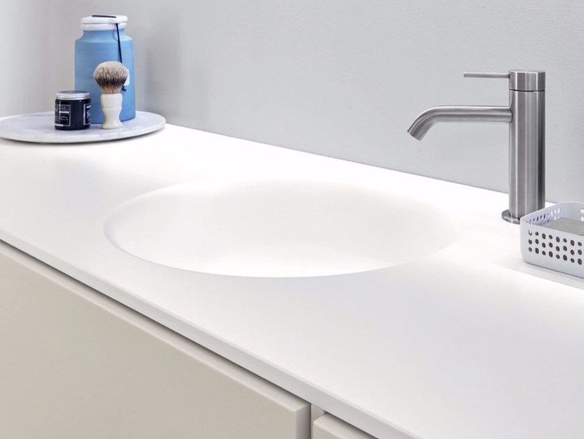 Round Korakril™ washbasin with integrated countertop HAMMAM   Washbasin with integrated countertop by Rexa Design