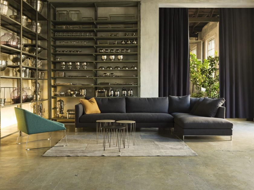 Sectional fabric sofa with removable cover HAMPTON by Verzelloni