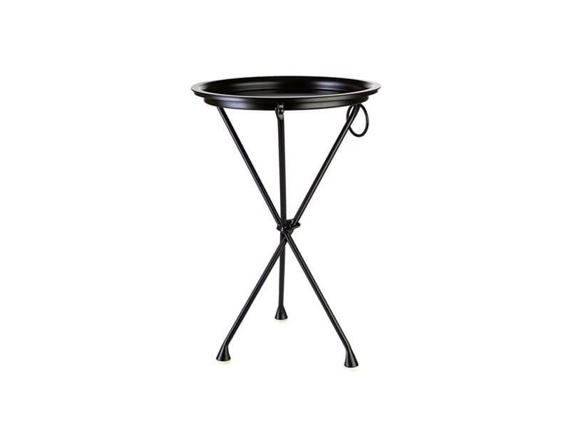 Tavolino di servizio rotondo in acciaio verniciato a polvere con vassoio HANDY - Pols Potten