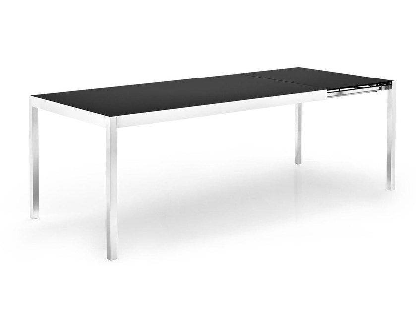 Extending glass and aluminium table HAPPY | Rectangular table - Calligaris