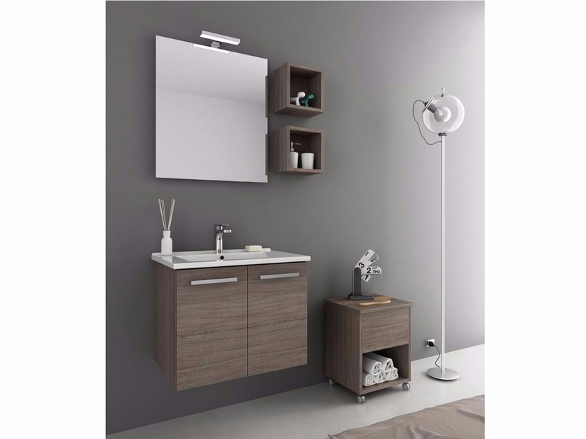 Wall-mounted vanity unit with doors HARLEM H1 by LEGNOBAGNO