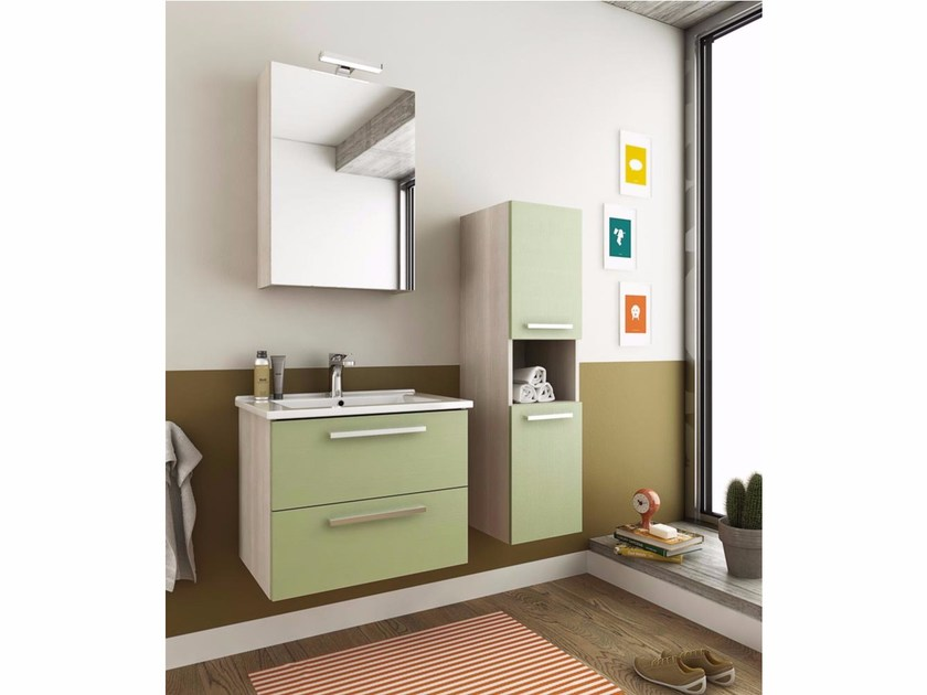 Wall-mounted vanity unit with drawers HARLEM H2 by LEGNOBAGNO