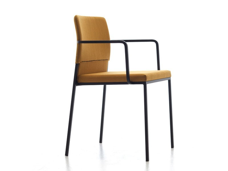 Contemporary style upholstered steel restaurant chair with armrests HAT | Chair with armrests - Debi