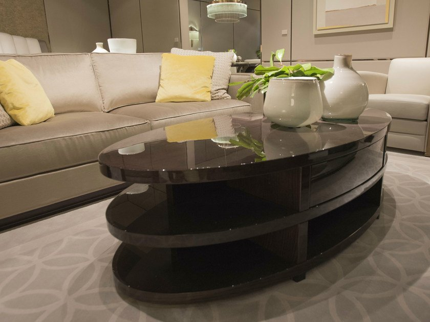 Lacquered oval oak coffee table for living room RONDO | Coffee table for living room - HUGUES CHEVALIER