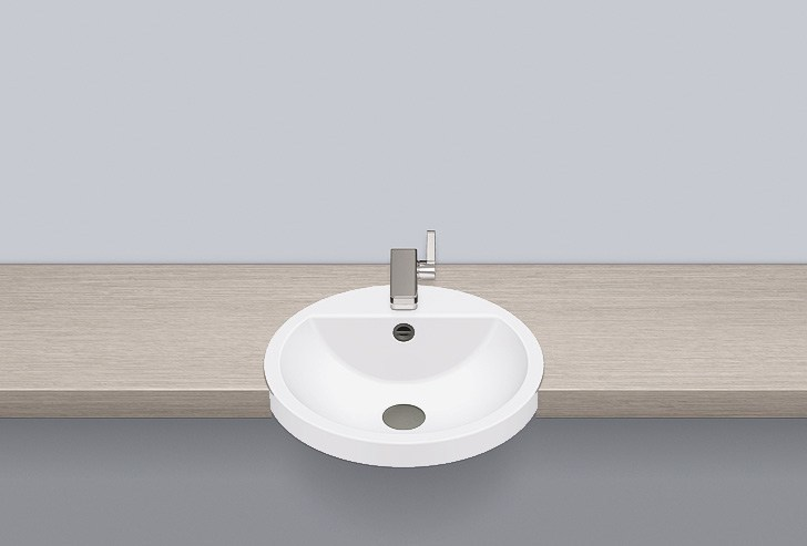 Semi-recessed basin from glazed steel HB.S450H - ALAPE