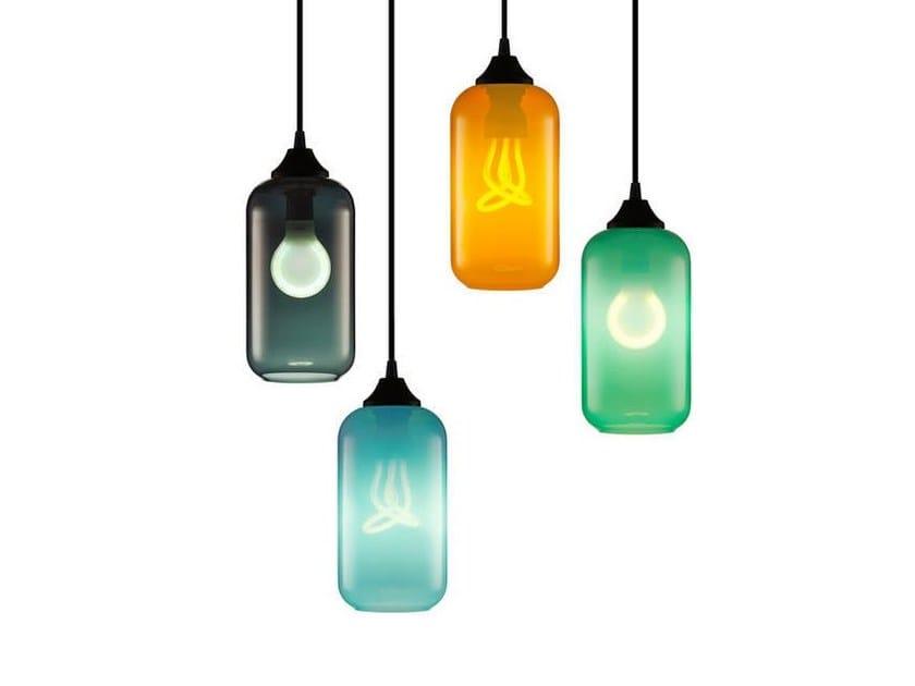Lampada a sospensione a luce diretta fatta a mano in vetro soffiato HELIO CHROMA - Niche Modern