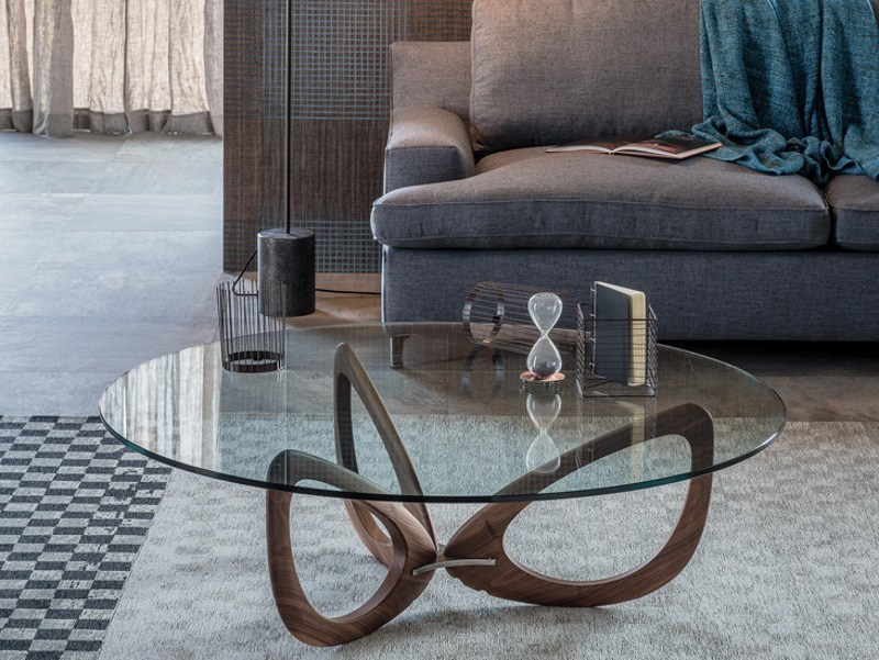 Low round crystal coffee table HELIX - Cattelan Italia