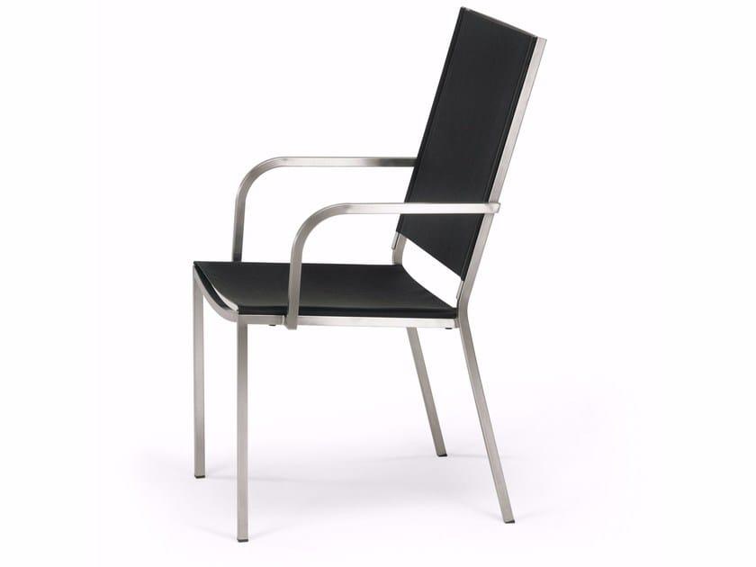 Sedia da giardino in acciaio inox con schienale alto HELIX | Sedia con schienale alto - FISCHER MÖBEL