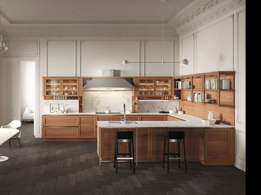 Cucina in olmo con penisola heritage cucina in legno - Ante in vetro cucina ...