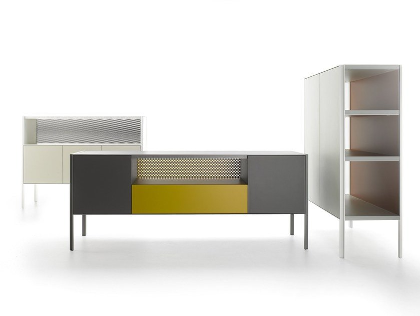 Lacquered honeycomb sideboard with drawers HERON - MDF Italia