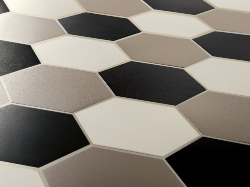 Indoor/outdoor full-body porcelain stoneware flooring HEX - HEXAGON - ETRURIA design