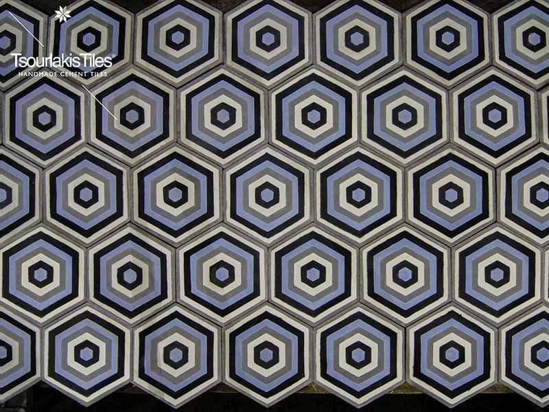 Indoor/outdoor cement wall/floor tiles HEXAGON 104 by TsourlakisTiles