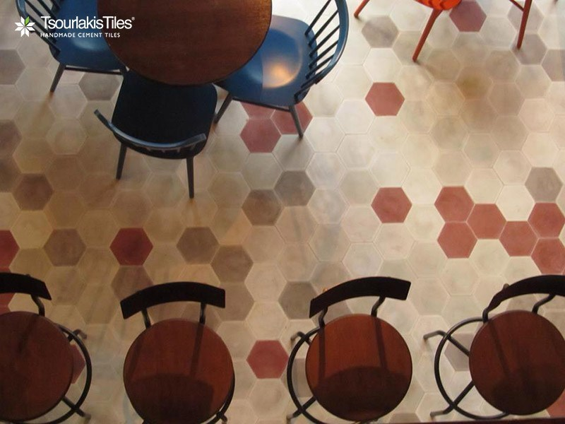 Indoor/outdoor cement wall/floor tiles HEXAGON SOLID COLOR - TsourlakisTiles
