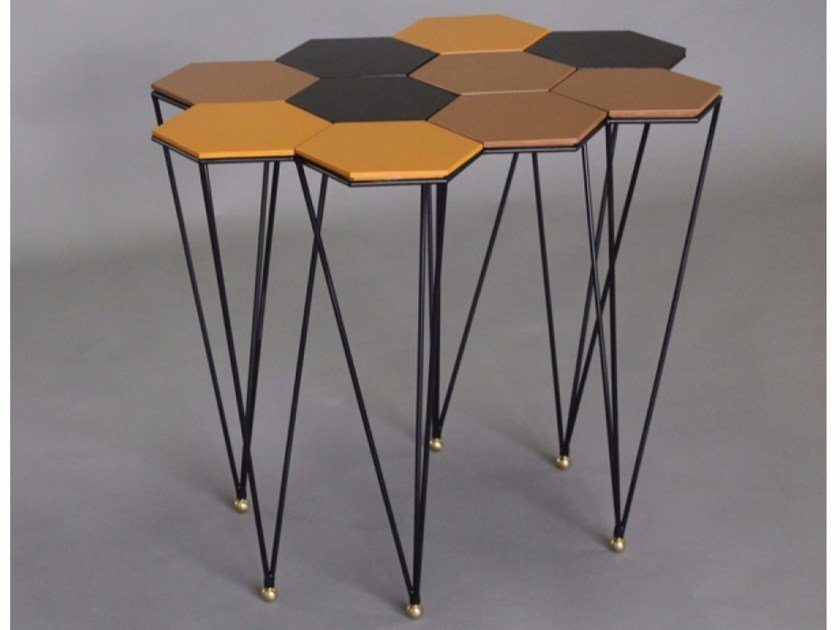 Lacquered metal coffee table HEXAGONE - Binome