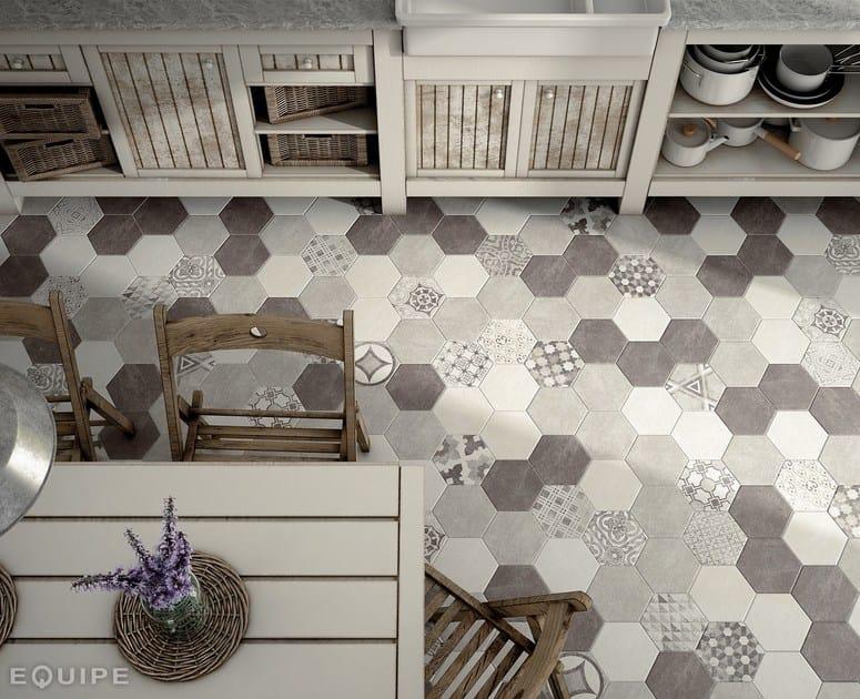 Hexatile Cement White, Grey, Black, Decor Garden Grey 17,5x20