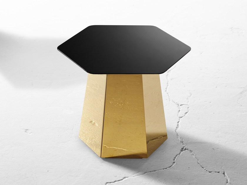 Stainless steel garden side table HEXT | Stainless steel coffee table - Derlot Editions