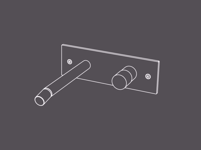 Wall-mounted single handle stainless steel bidet mixer without waste HIR19 | Wall-mounted bidet mixer - Radomonte