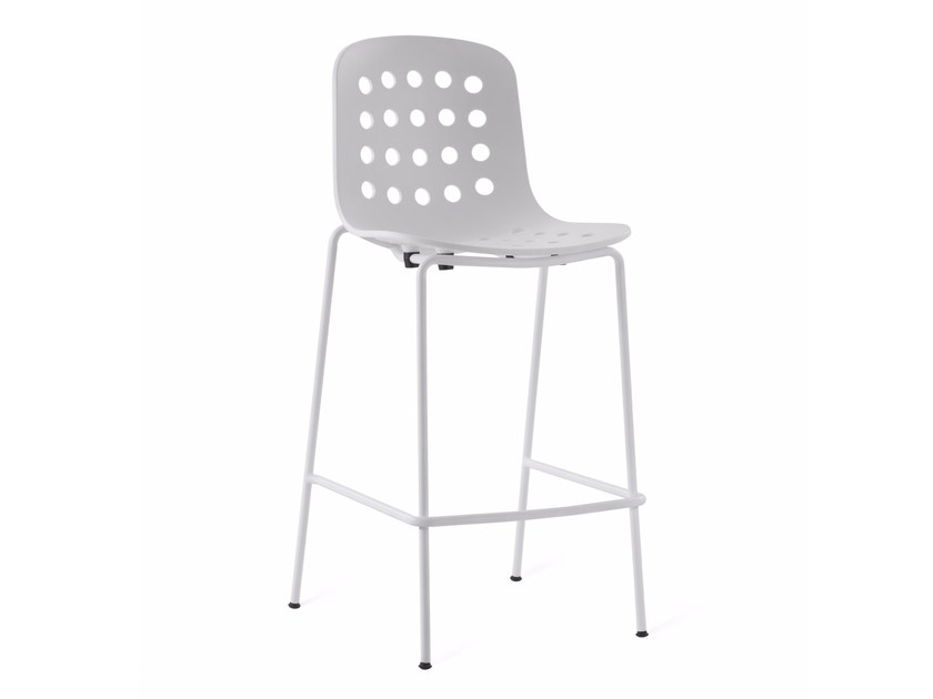 Plastic counter stool with footrest HOLI | Counter stool - KUBIKOFF