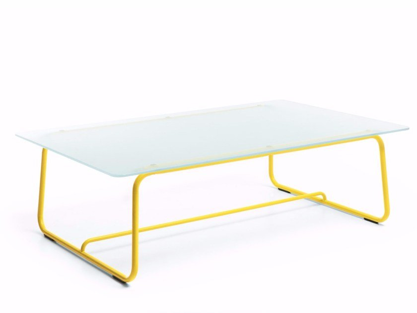 Sled base opal glass coffee table HOVER S1 by profim