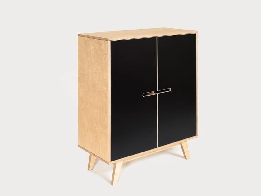 Plywood highboard with doors HUH 1x1 by Radis