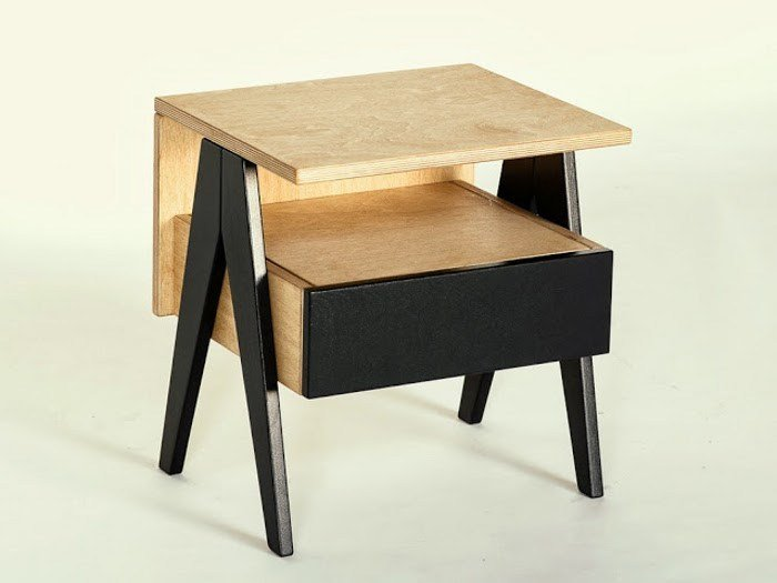 Square plywood bedside table with drawers HUH | Bedside table - Radis