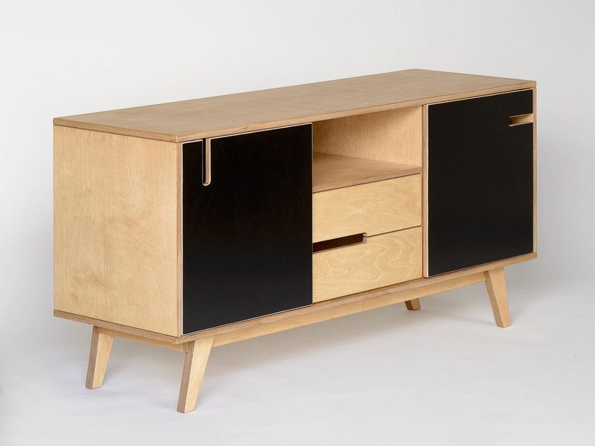 Sideboard with sliding doors with drawers HUH | Sideboard with drawers - Radis