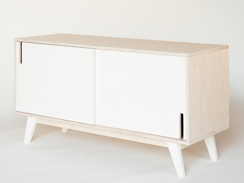 Lacquered plywood sideboard with sliding doors HUH   Sideboard with sliding doors - Radis