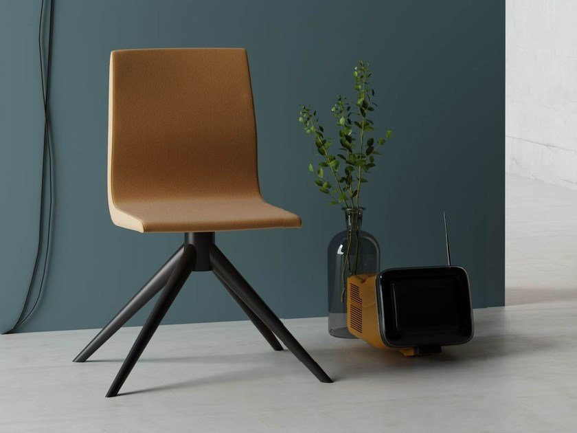 Upholstered trestle-based fabric chair with removable cover HULA HOOP   Chair - Imperial Line
