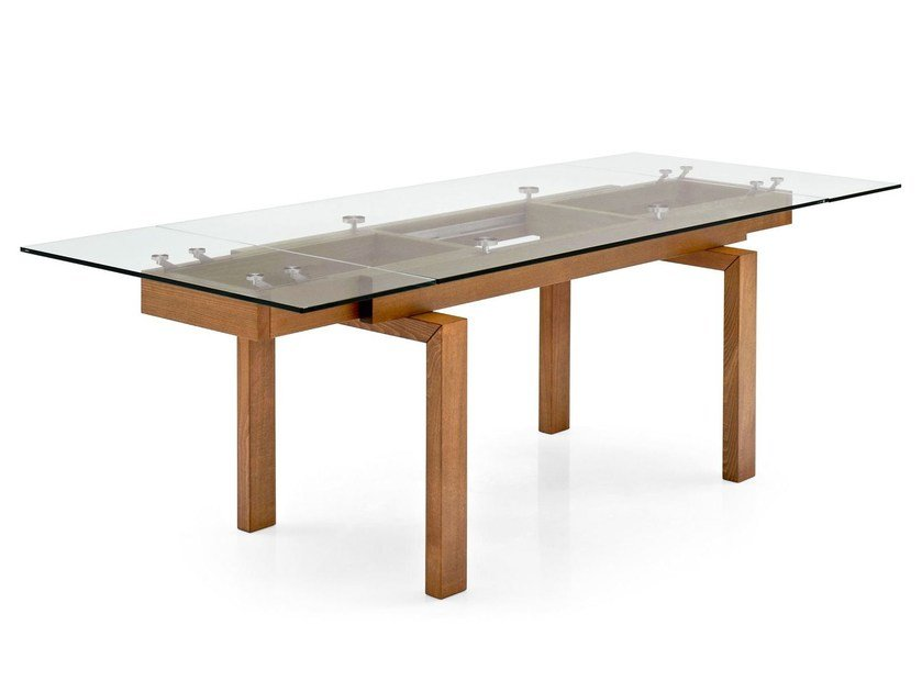 Extending wood and glass table HYPER - Calligaris
