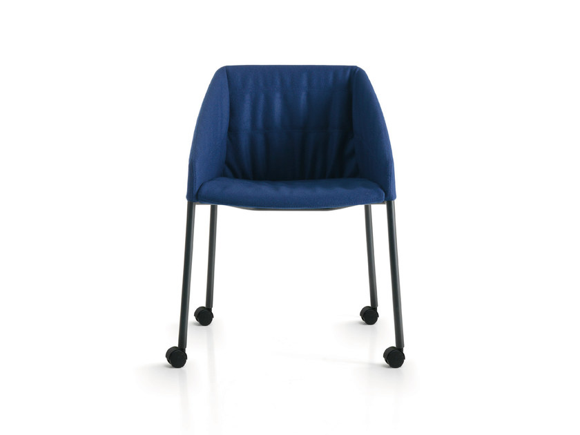 Fabric reception chair with armrests with casters HYWAY | Chair with casters - Quinti Sedute