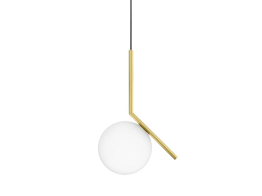 Brass pendant lamp ic lights s1 by flos design michael anastassiades - Ic lights flos ...