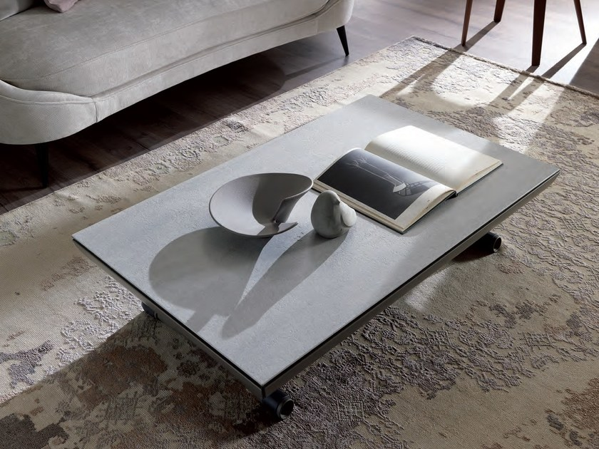 Height-adjustable rectangular coffee table ICARO - Ozzio Italia