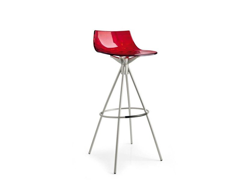 Stool with footrest ICE | Trestle-based stool - Calligaris