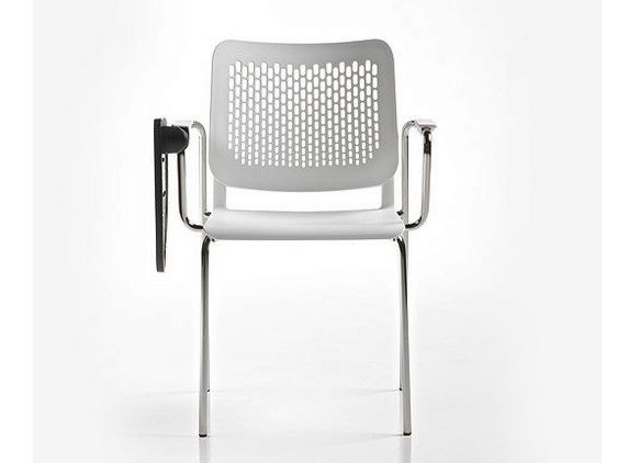 Polypropylene training chair with armrests ICE | Training chair with writing tablet - D.M.