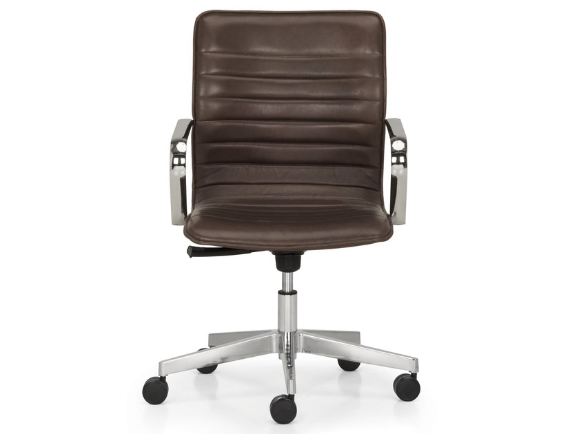 Height-adjustable leather task chair with 5-Spoke base with armrests ICE | Task chair - Quinti Sedute