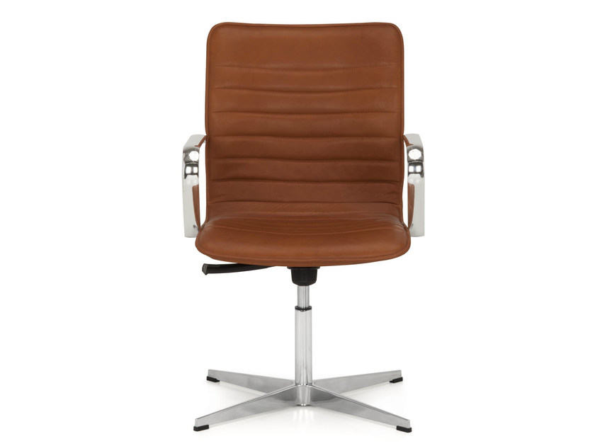 Height-adjustable trestle-based leather task chair with armrests ICE | Task chair with 4-Spoke base - Quinti Sedute