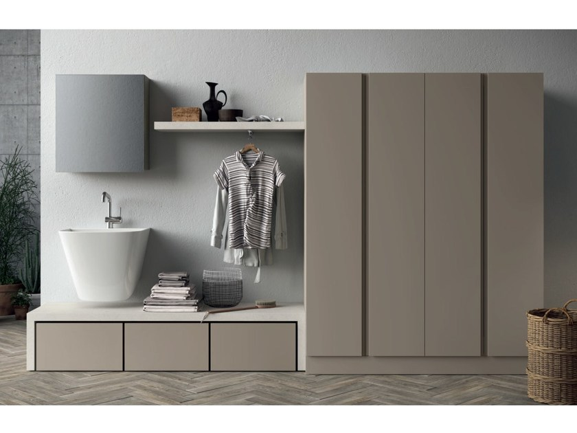 Sectional laundry room cabinet with sink IDROBOX | Laundry room cabinet by Birex