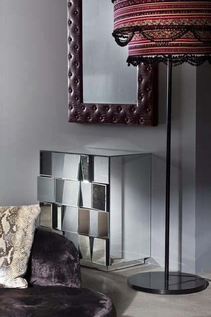 Cassettiera a terra in vetro a specchio illusion for Mobili kare design