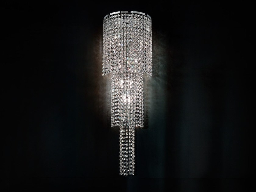 Direct light incandescent chrome plated wall light with crystals IMPERO VE 844 | Wall light by Masiero