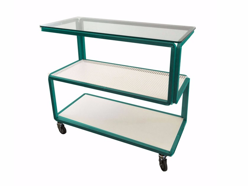 Rectangular glass and steel console table IN_SIDE OUT - Castellani.it