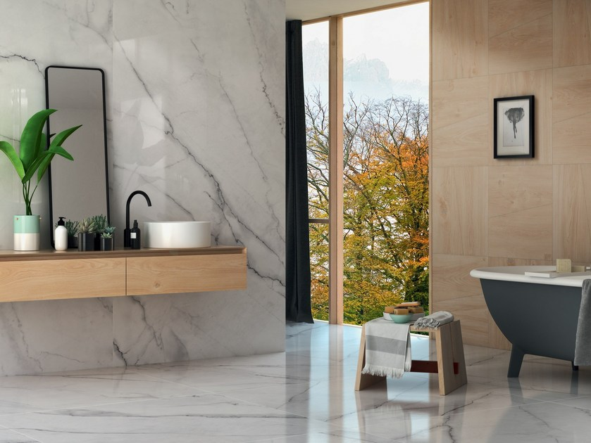 Pavimento rivestimento in gres porcellanato effetto marmo - Rivestimento bagno in marmo ...