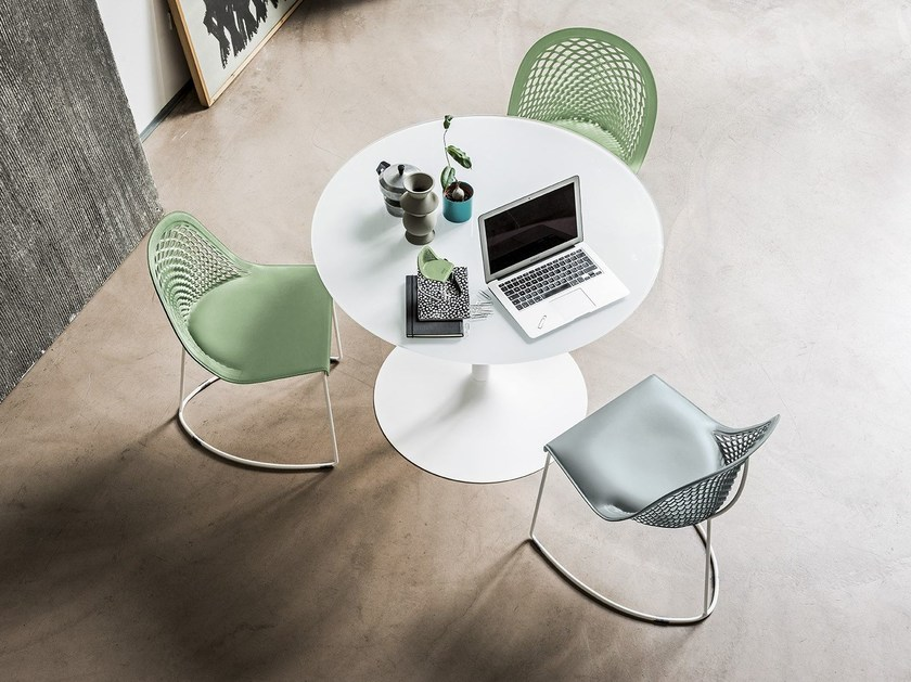 Round glass and aluminium table INFINITY | Round table - Midj