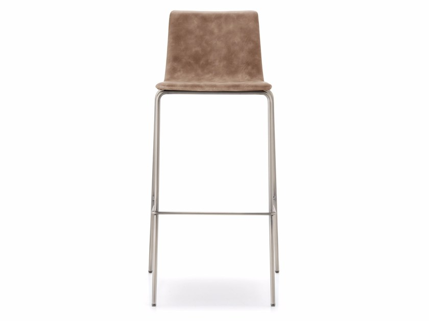 Upholstered counter stool with footrest INGA | Counter stool - PEDRALI