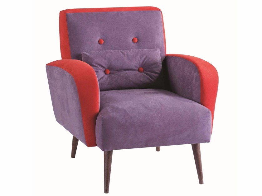 Fabric armchair with armrests INGRID - ROCHE BOBOIS