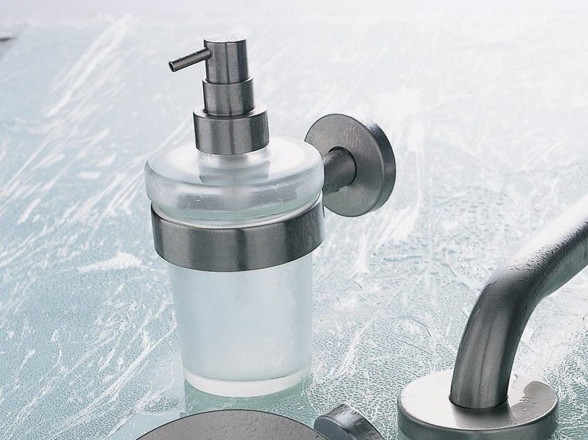 Wall-mounted satin glass liquid soap dispenser INOX | Liquid soap dispenser by INDA®