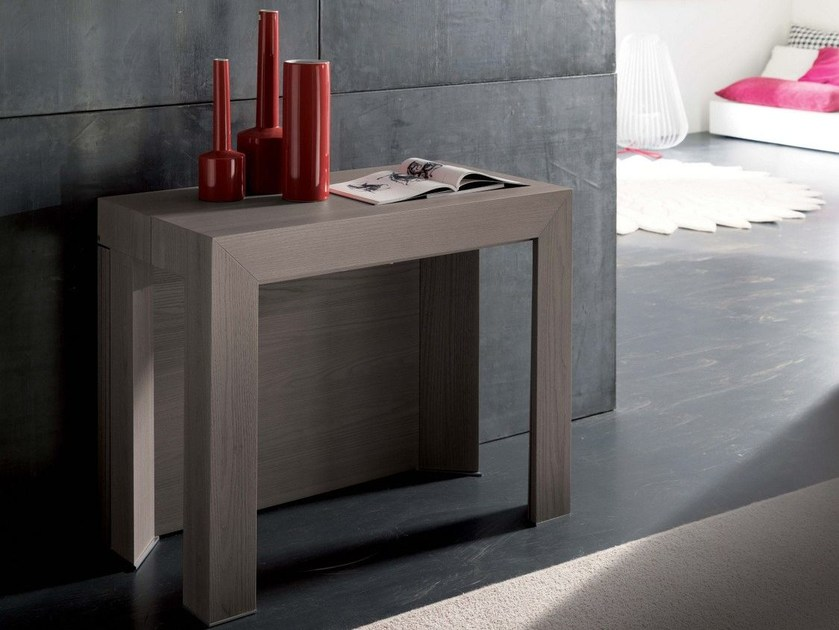 Extending rectangular wooden console table INSIDE - Ozzio Italia