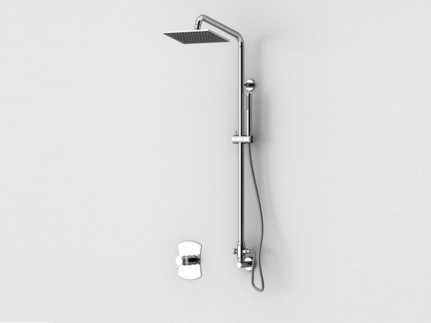 Wall-mounted shower panel with hand shower with overhead shower INTERSEZIONE | Shower panel with overhead shower by Gattoni Rubinetteria