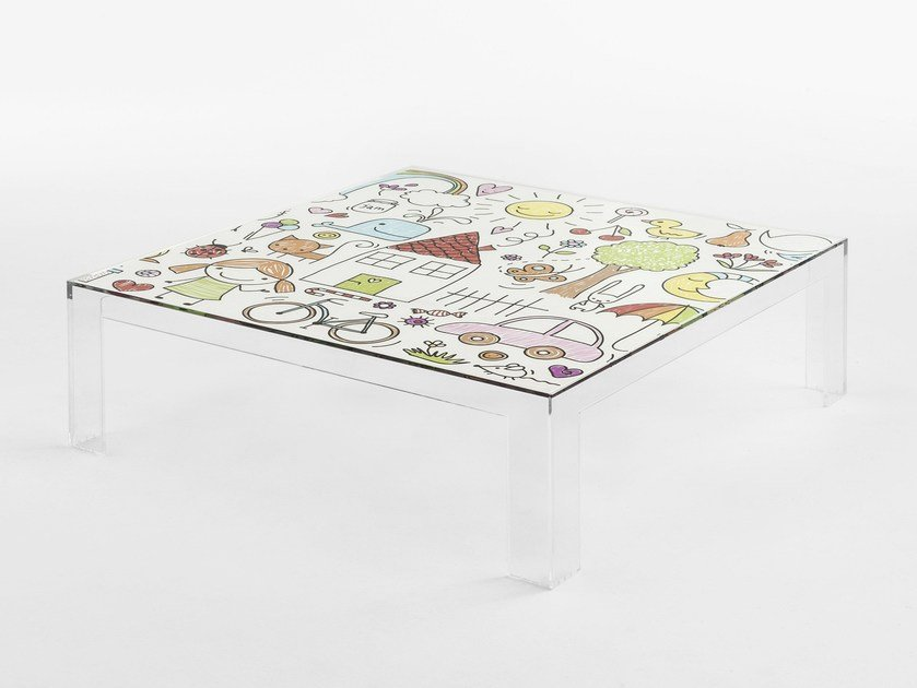 Square PMMA kids table INVISIBLE KIDS by Kartell