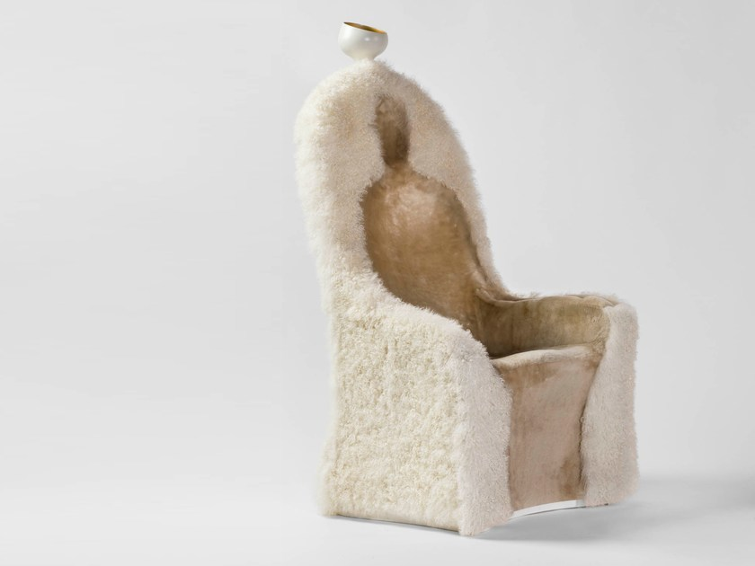 High-back fur armchair with armrests INVISIBLE PERSONAGE by BD Barcelona Design